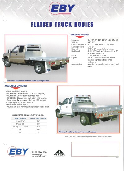 2008 Eby 9' aluminum flatbed body type c